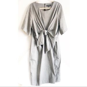 NWT Eloquii Tie Front Work Dress Gray Midi Sz 22